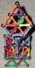 Upper front view of two crystals end to end built of Magz magnetic construction toys