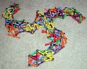 A view of wreck of triskelion bridge built of Magz magnetic construction toys